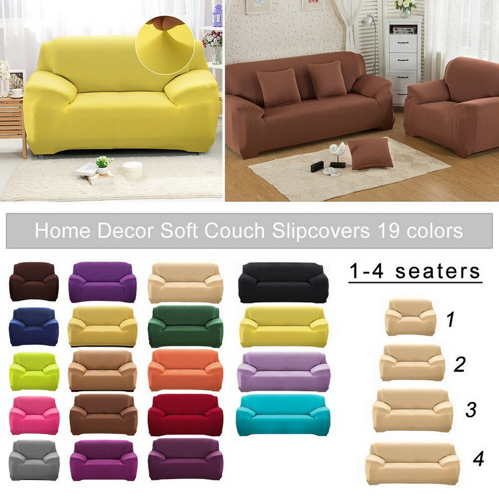 1//2//3 Seater Stretch Fit Elastic Fabric Sofa Cover Couch Covers Spandex Protect
