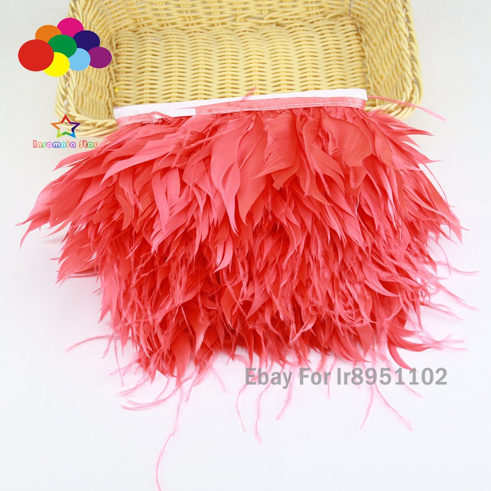 Diy Red Coffee 1//5//10 Meter Ostrich Feather Cloth Trims 3.15-6In//8-15Cm Carnival