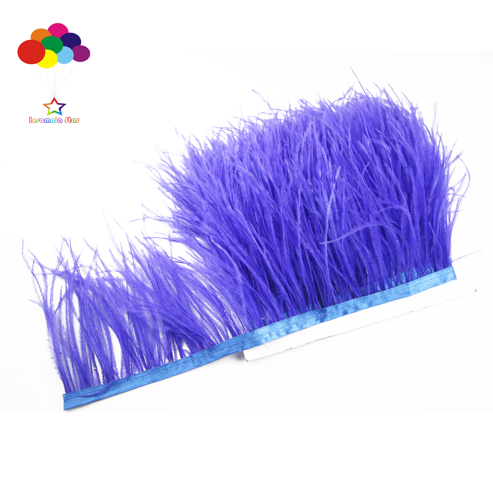 Hot 1//5//10 meter light purple Ostrich Feathers 8-15cm//3-6inch Fringe Ribbon Trim
