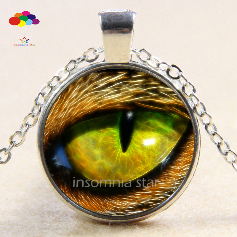 Vintage Cabochon Tibetan Silver Glass lizard eye Chain Pendant Necklace zqd112