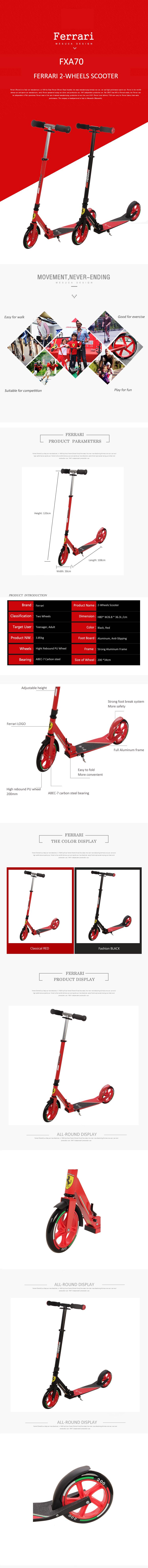 Details about Adult Kick Scooter Outdoor Bike Aluminum Foldable 2 Big PU  Wheels 200mm Black