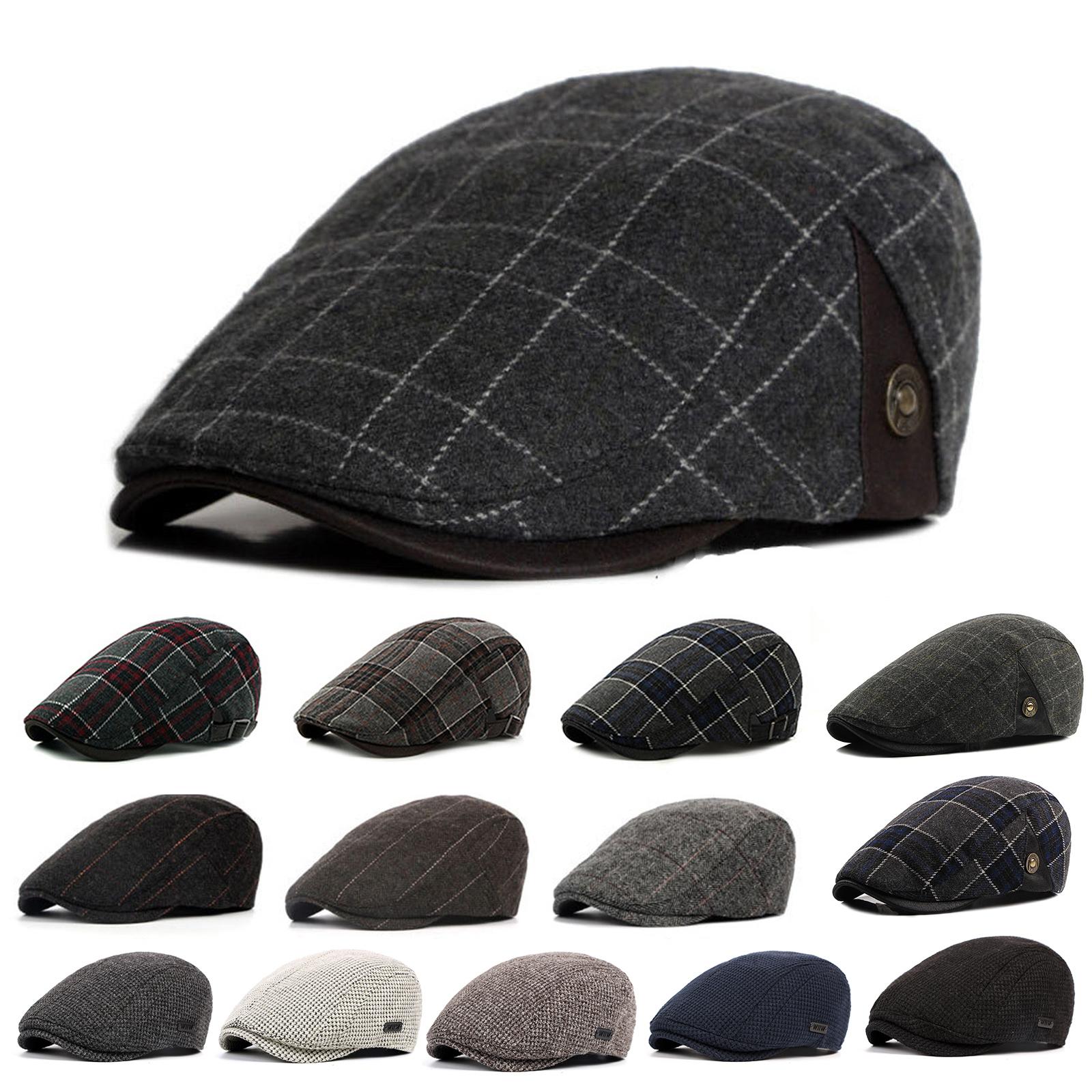 04b512b05de Details about Men Wool Blend Ivy Cap Tweed Herringbone Newsboy Gatsby Flat  Winter Warm Hat