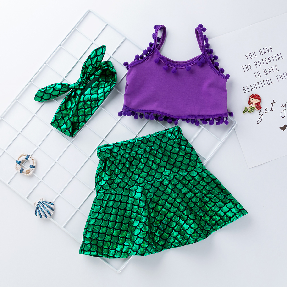 dc5de3aee2ef7 Toddler Girls Strap Tops Vest+Mermaid Skirt+Headband Set Outfits Dress  Costume
