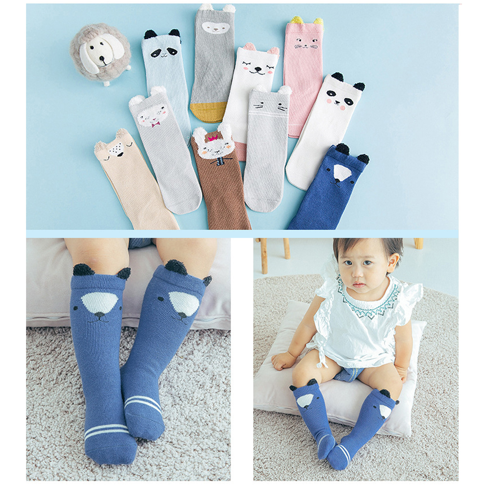 3 Pairs Baby Socks Cute Toddler Girls Boys Animals Leg Warmers Knee Long Socks