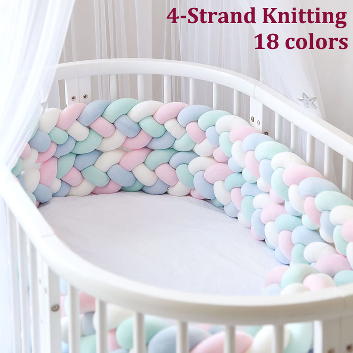 Infant Baby Bed Bumper Crib Plush Protector 4-strand Knot Game Pillow Home Decor