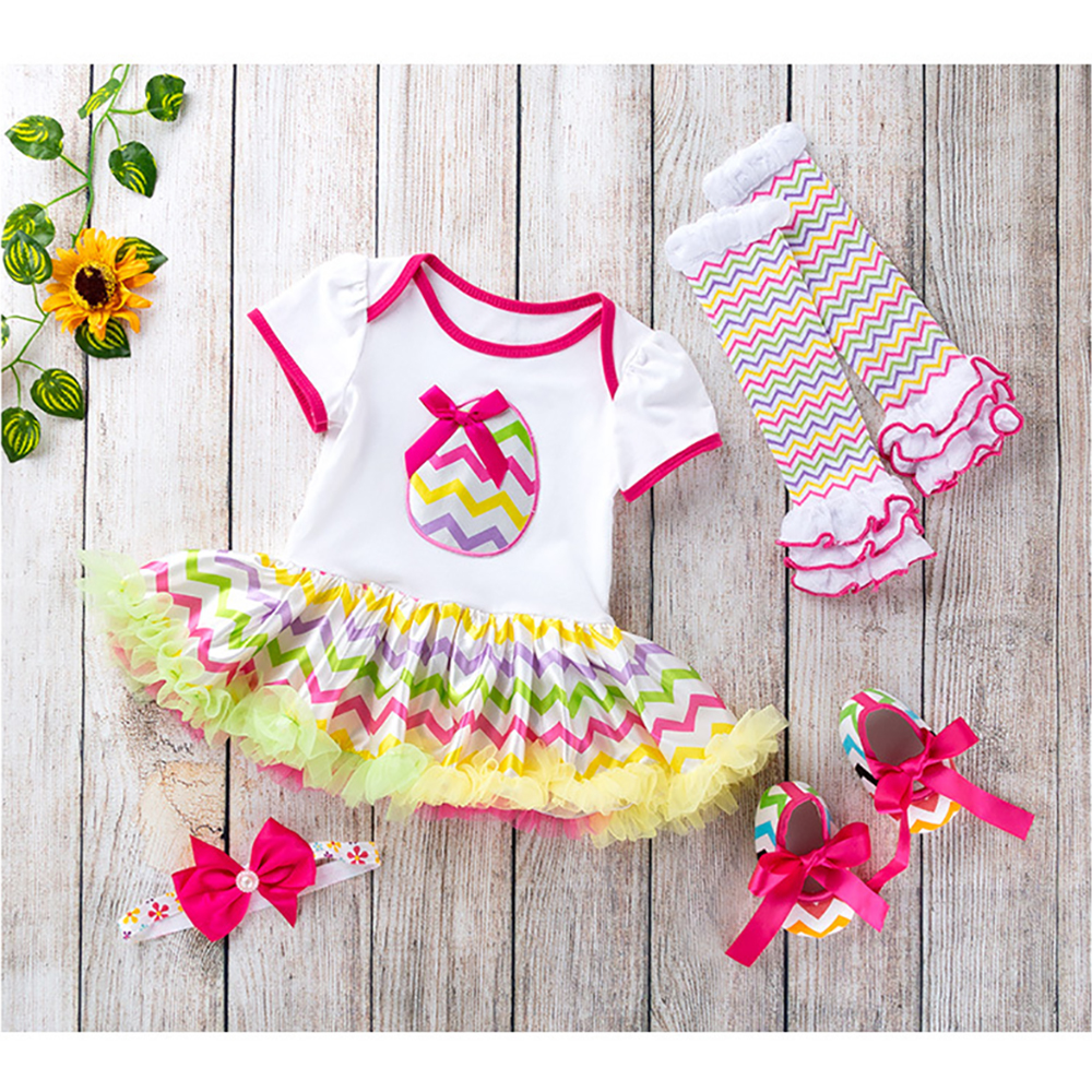 Headband 4PCS Easter Infant Baby Girls Romper Dress Shoes Socks Outfits Set