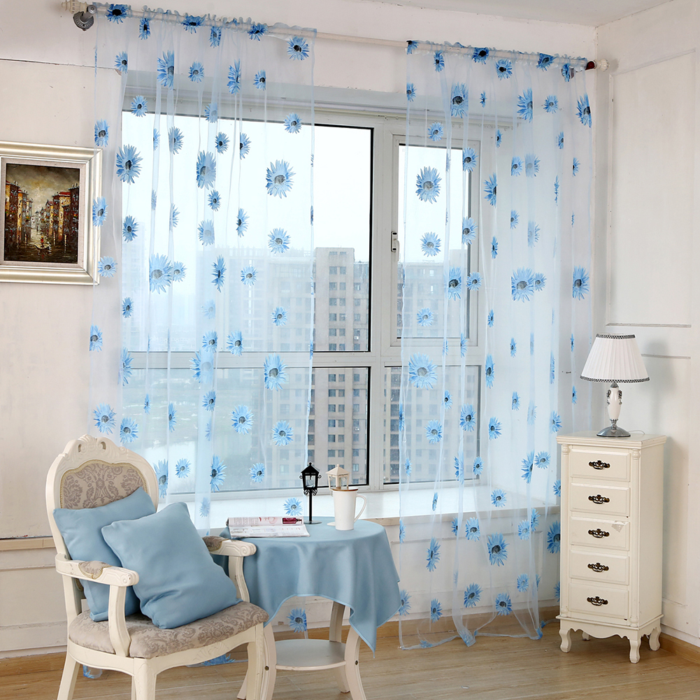 chrysanthemum muster transparent voile vorhang fenster schal volant gardinen ebay. Black Bedroom Furniture Sets. Home Design Ideas