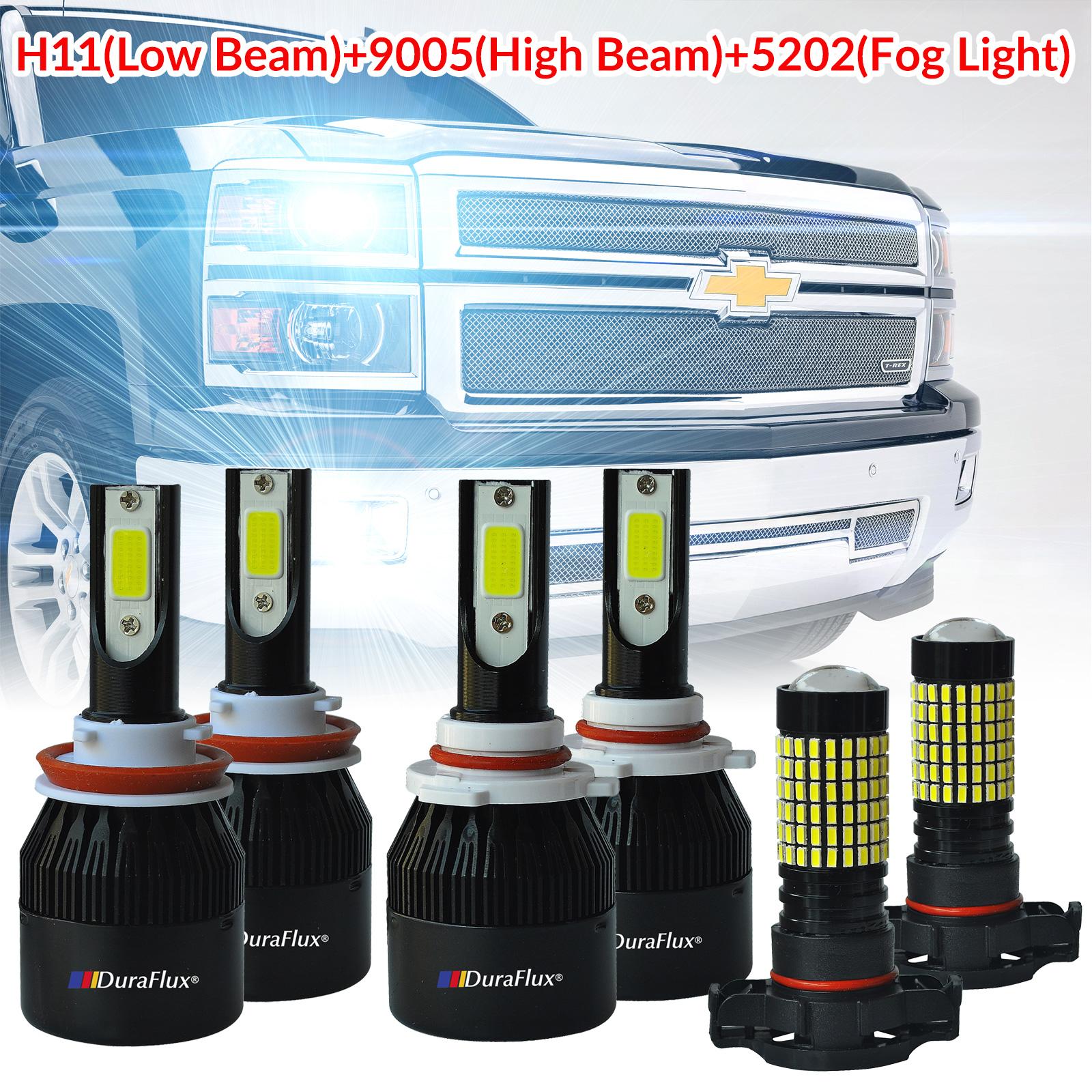 Duraflux H11 9005 Led Headlight 5202 Fog Light Fo 2007 2015 Chevy Silverado Lights 1500