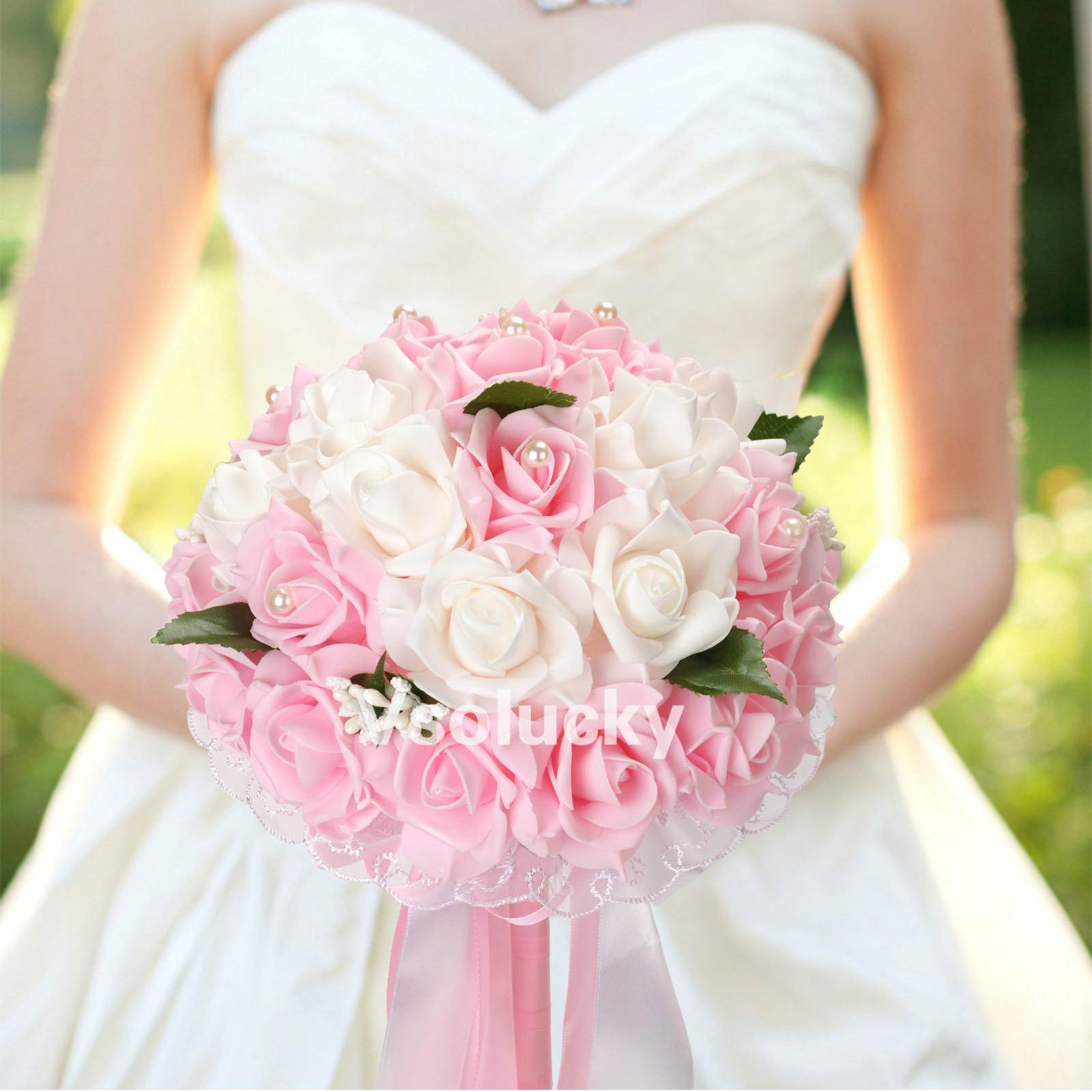 Wedding Bouquet Foam Flowers Rose Lace Bride Bridesmaid Girl Wand ...