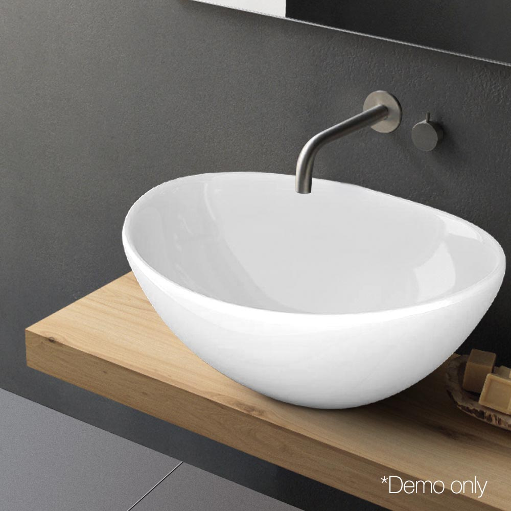 Ceramic oval wash basin bathroom sink bowl glossy above counter top vanity white
