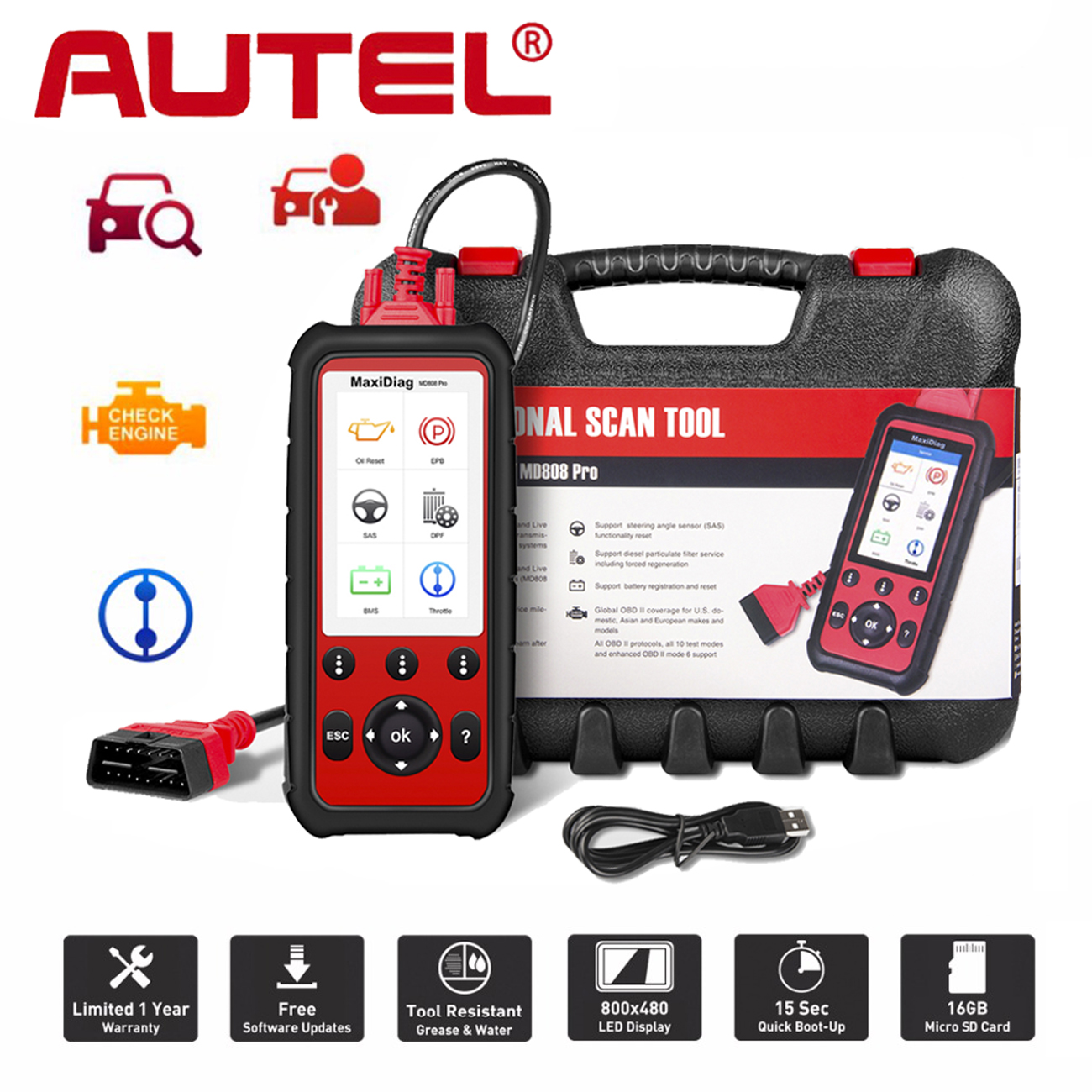 autel maxidiag md808 pro srs epb dpf auto diagnostic scan. Black Bedroom Furniture Sets. Home Design Ideas