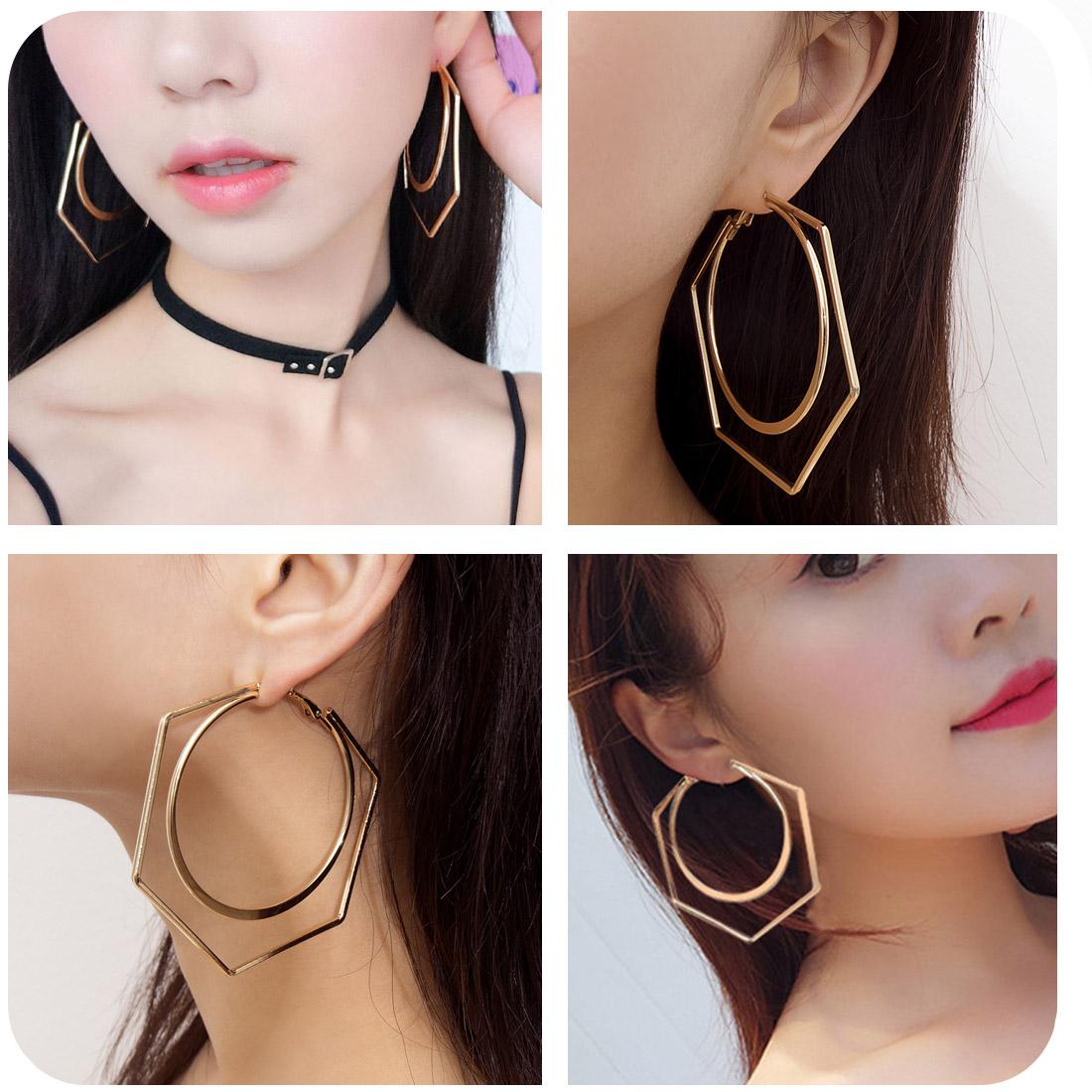 Goldenplated Silver  Hypoallergenic earrings Green Enamel Big Golden Hoops Gift for her Statement earrings Dangled Hoop Earrings