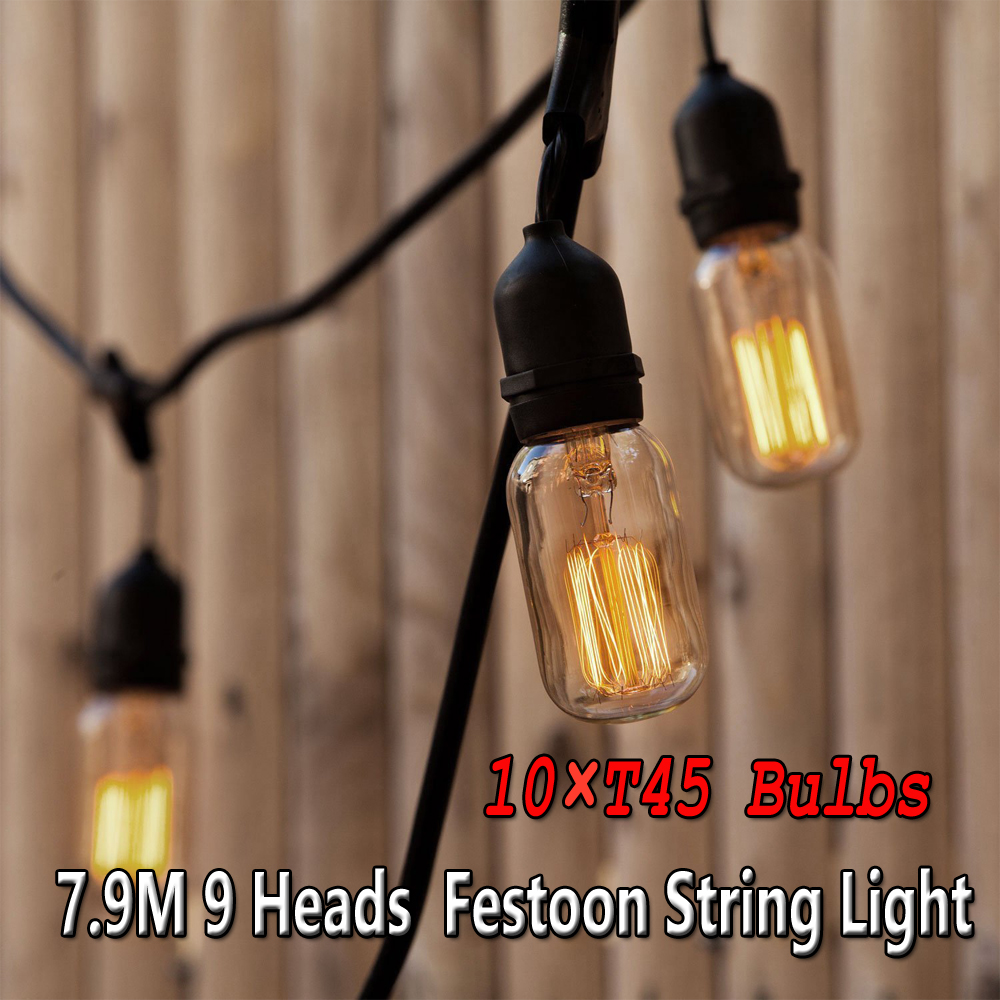 Details About 9 Heads Vintage E27 Lamp Holder Patio String Lights 10 Edison 40w Bulbs