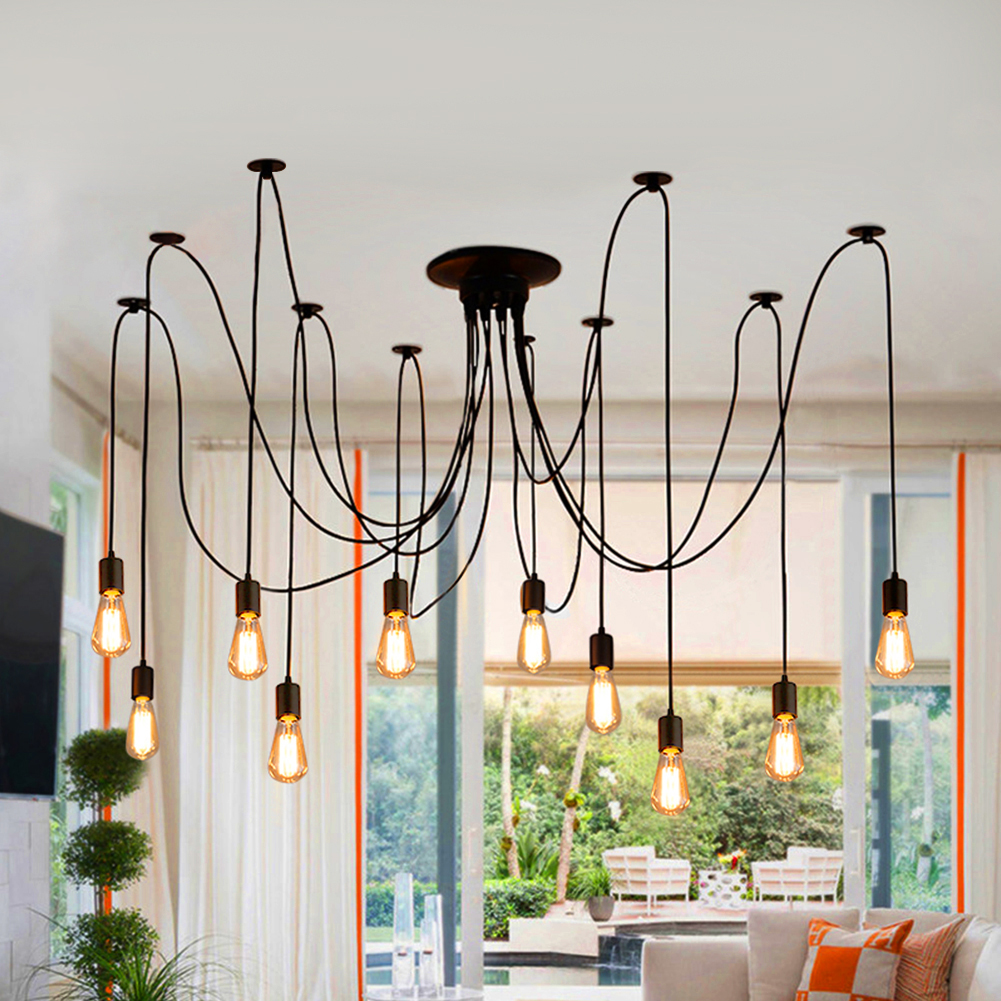 Details about 8 10 head e27 vintage style home decor ceiling light spider lamp pendant fitting