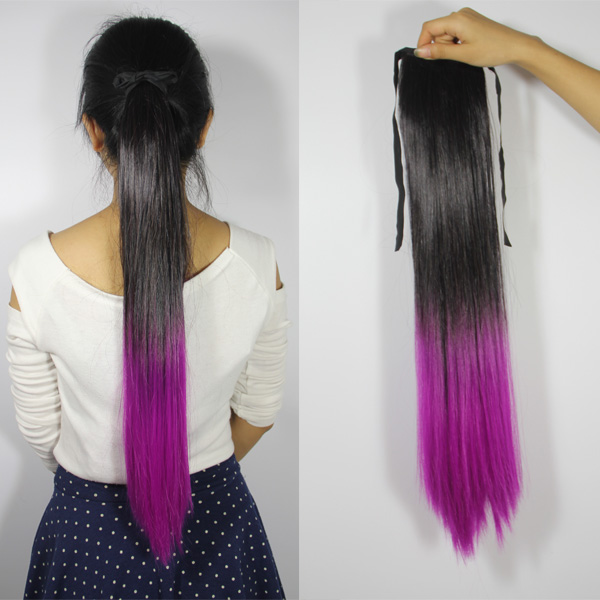 Fashion Straight Ombre Party Clip In Ponytail Hair Extensions Black