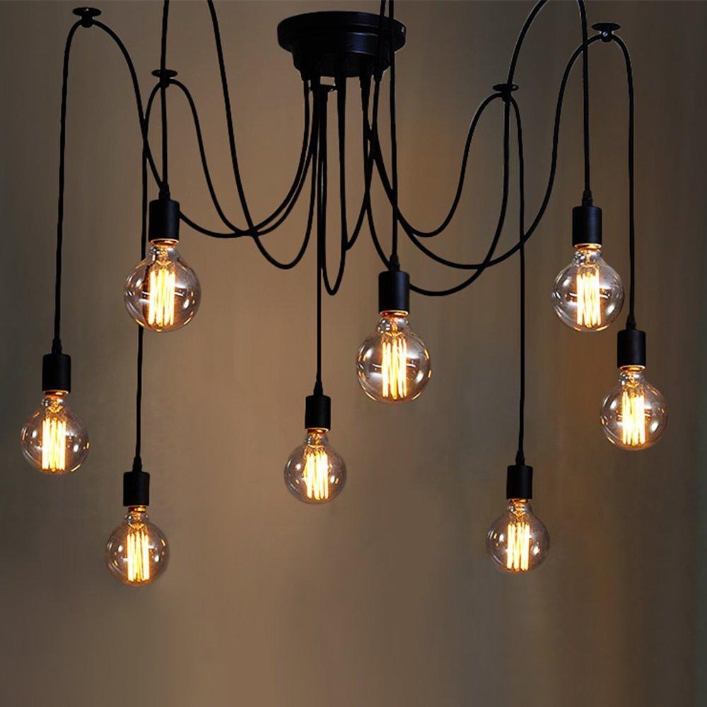 Details about 6 8 head vintage industrial adjustable ceiling spider lamp pendant light fitting