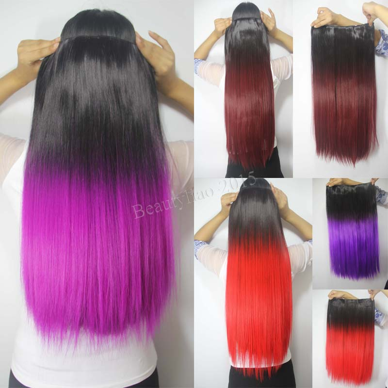 24 Straight Synthetic Hair Piece Ombre Dip Dye 5 Clips Clip In Hair