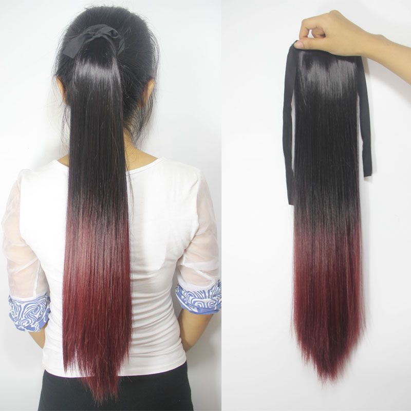 24 Straight Ombre Two Tone Clip In Ponytail Hair Extensions Dark