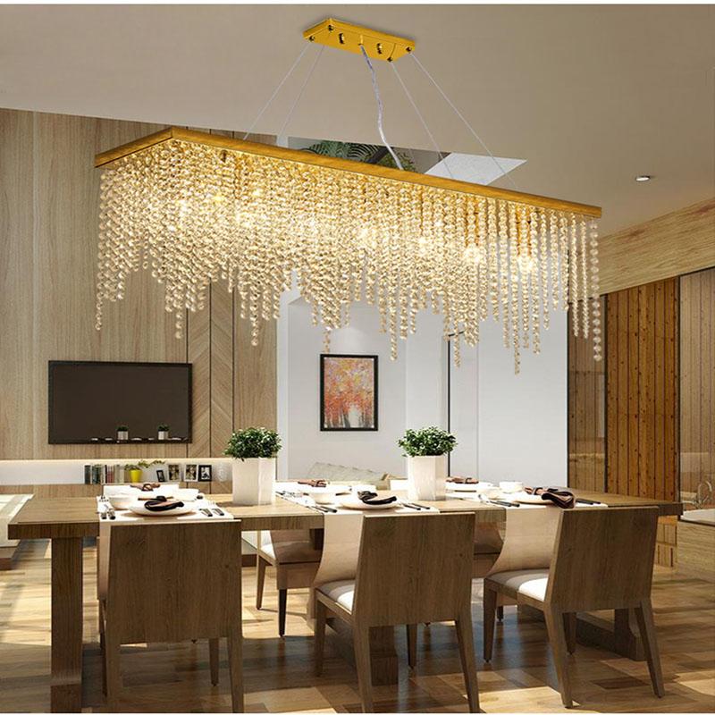 Details About Modern Simple Dining Room Rectangular K9 Crystal Chandelier Ceiling Light 6615