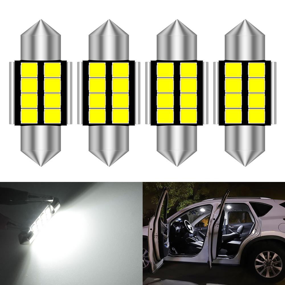 2 pcs 31mm White 3528 SMD 6 LED Festoon Dome Map Light DE3175 DE3021 Bulb For FP