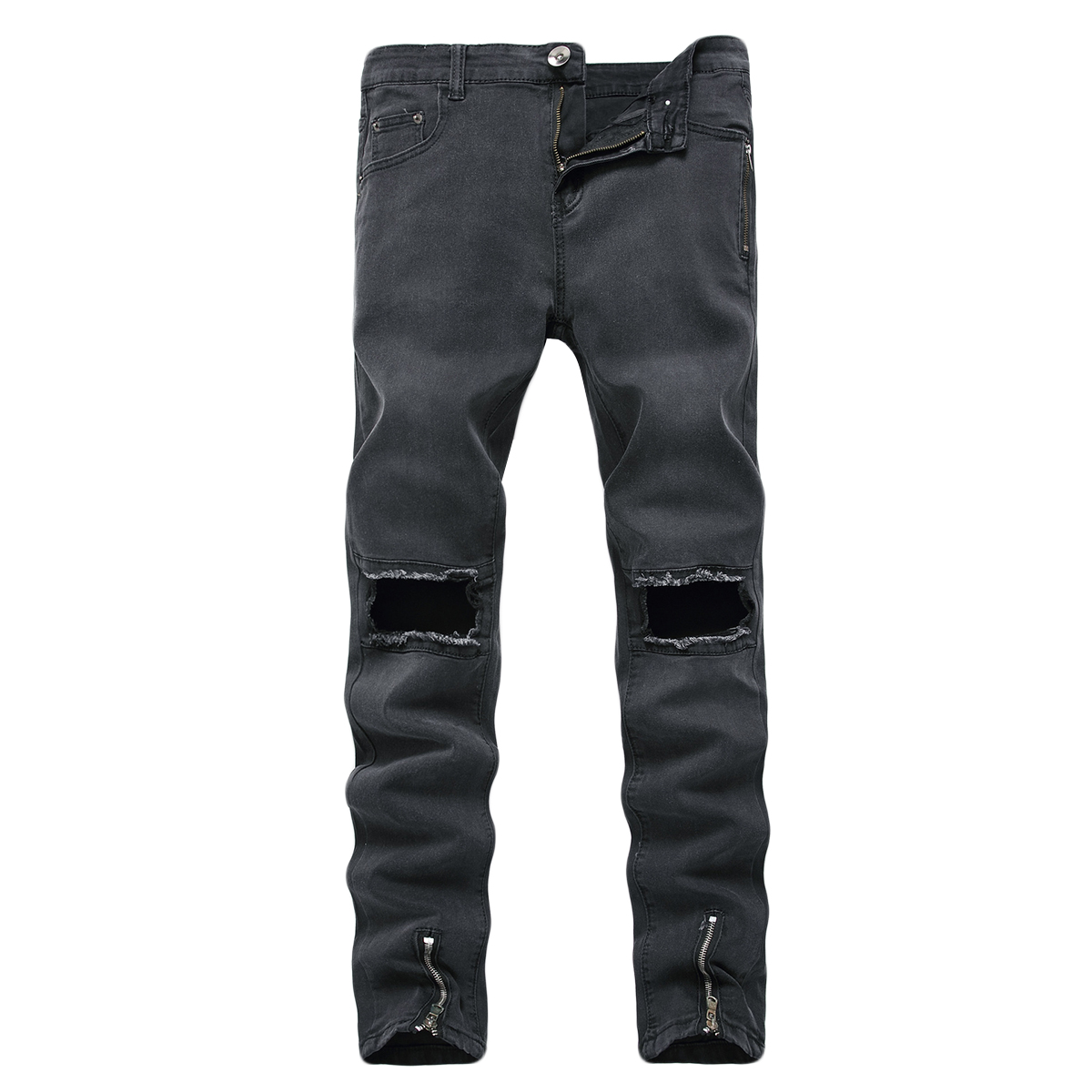 55da369dc Men's Denim Ripped Distressed Jeans Washed Stretchy Tapered Leg Pants with  Holes
