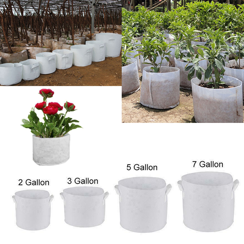 5 Sizes Round Fabric Pots Root Container Grow Bag Plant Pouch Aeration Container