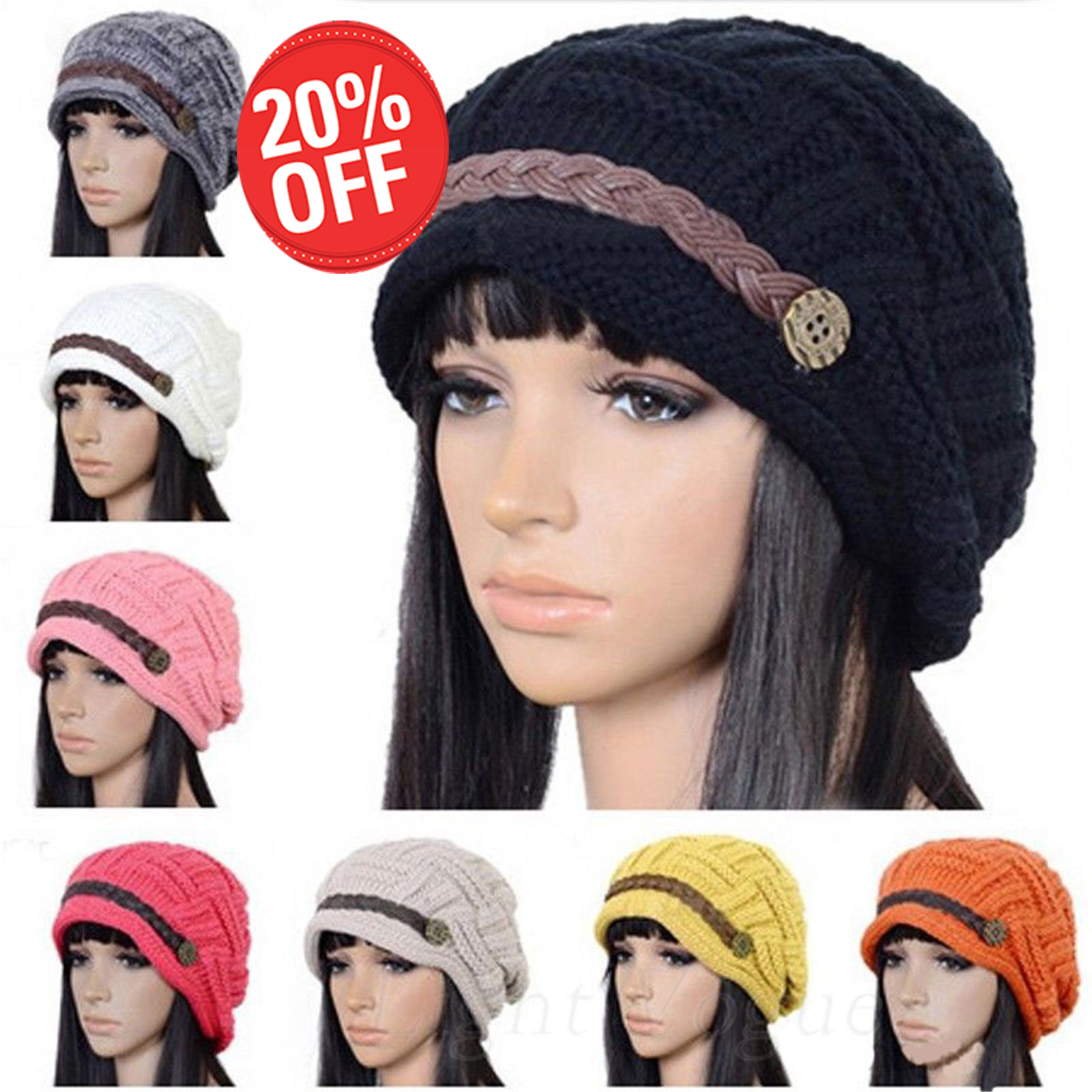 77db9dc02f4 Women Braided Winter Warm Baggy Beanie Knit Oversized Crochet Ski Hat Cap  US ILO