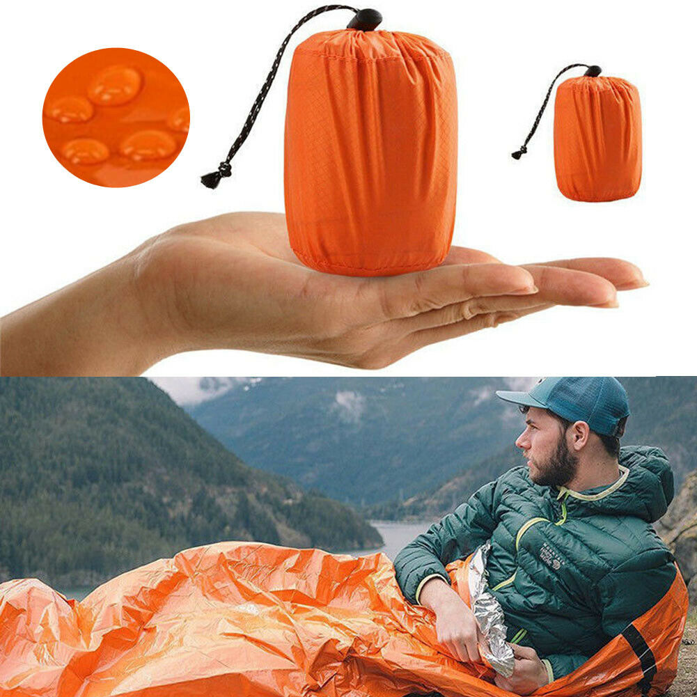 1xReusable Emergency Sleeping Bag Thermal Waterproof Survival Camping Travel Bag