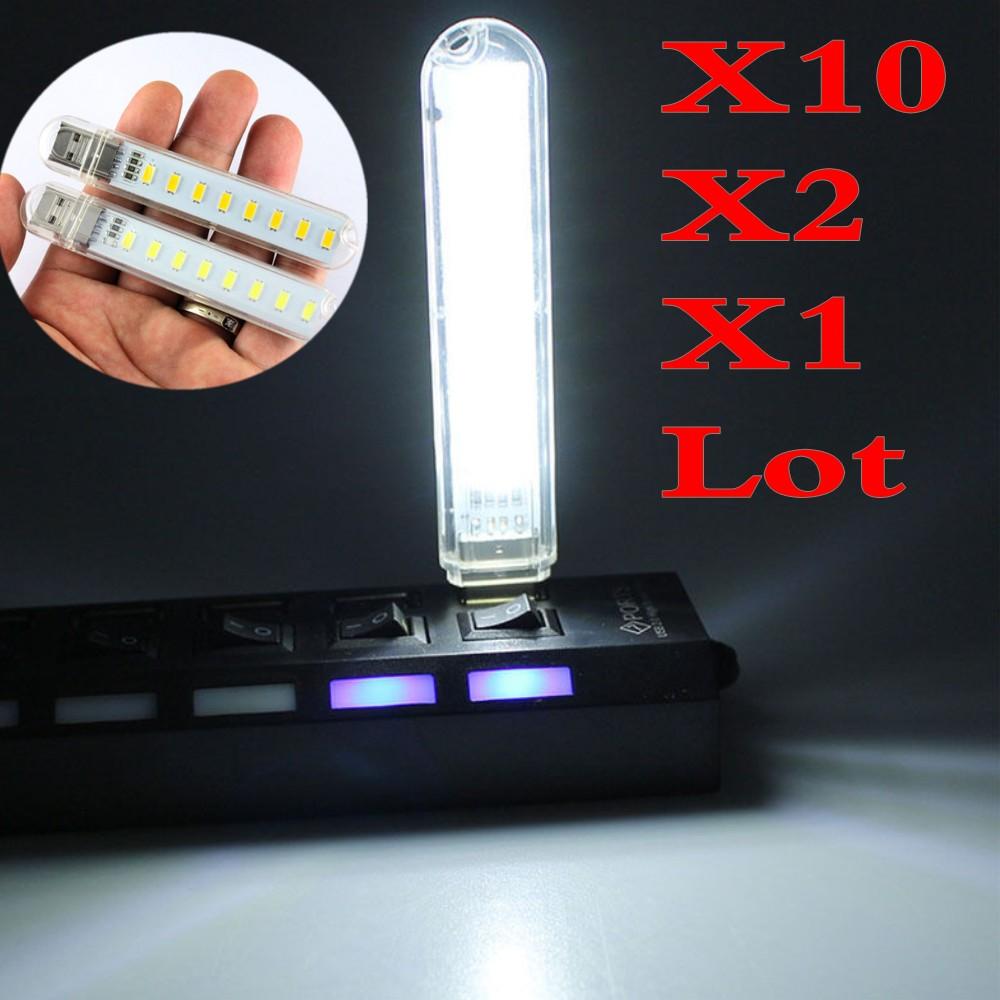 1-10X Warm White Mobile Power USB LED Lamp 8 Leds Lighting Computer Night Light