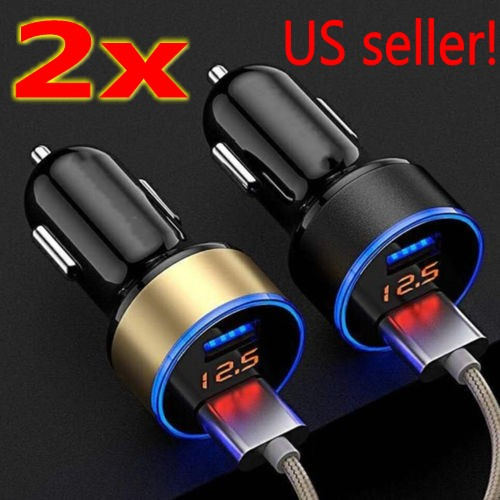Black Car Charger 3.1A Dual USB 2 Ports LCD Display 12-24V for Apple and for Android Devices USB Car Charger Adapter
