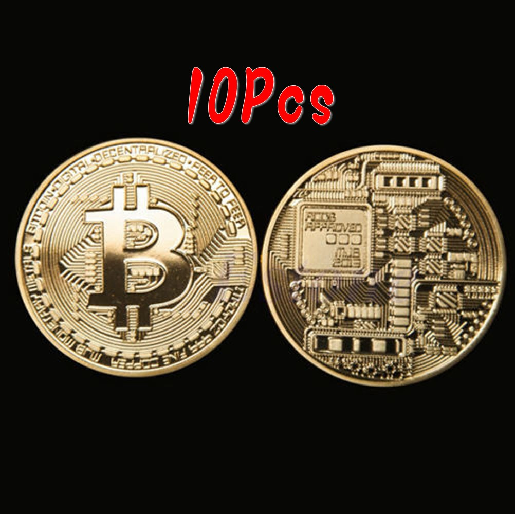 Silver Plated Commemorative Bitcoin Collectible Golden Iron Miner Coin