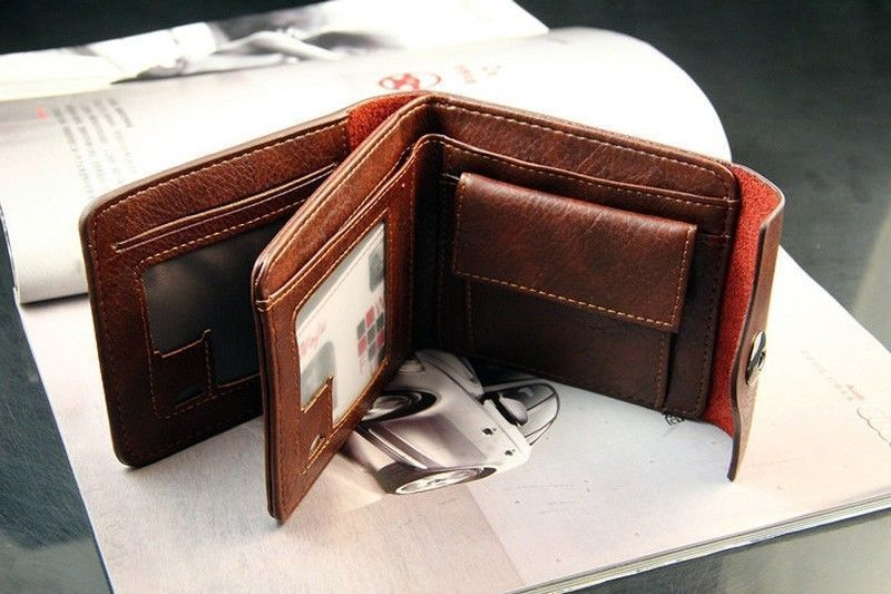 New Bifold Wallet Men/'s Leather Credit//ID Card Holder Slim Purse Gift