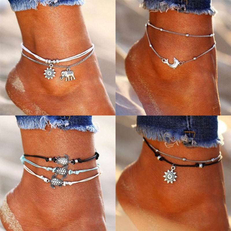Vintage Multiple Layers Rope Chain Ankle Bracelet Elephant Sun Pedant UK Bransoletki