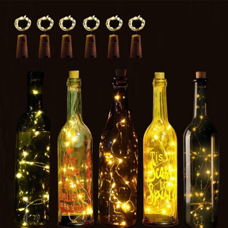 2m 20led Weinflasche Kork Geformt Lichterketten Nachtlampe bar Dekor Heiss#skl