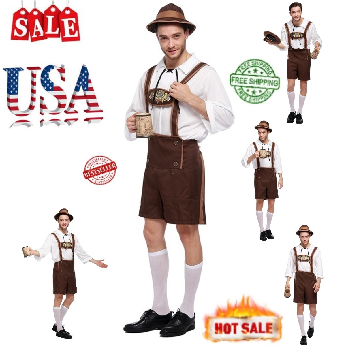 760a8fdccb7 Details about *Mens Adult German Bavarian Beer Oktoberfest Lederhosen Fancy  Dress Costume* Lot