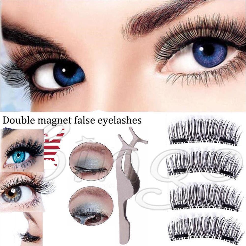 82327afcf30 4PCS Double Magnetic 3D Eyelashes Handmade Reusable False Long Magnet Eye  Lashes