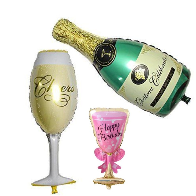 Foil Balloons Champagne Bottle Glass Happy Birthday /& Wedding Party Decor Pop