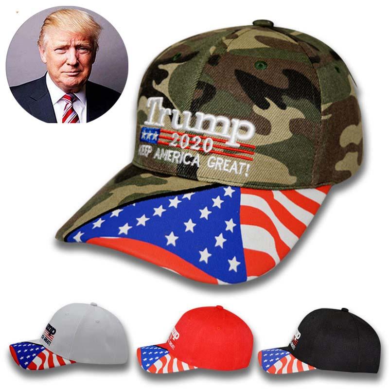 High Quality Trump 2020 Hat USA Flag Camo Baseball Cap 3D Embroidery HOT SALE