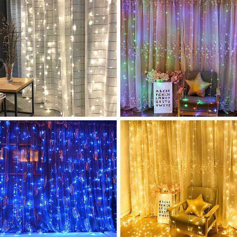Details About 300 Led Usb 3m Fairy Curtain String Lights Wedding Party Room Decor Holiday Xmas