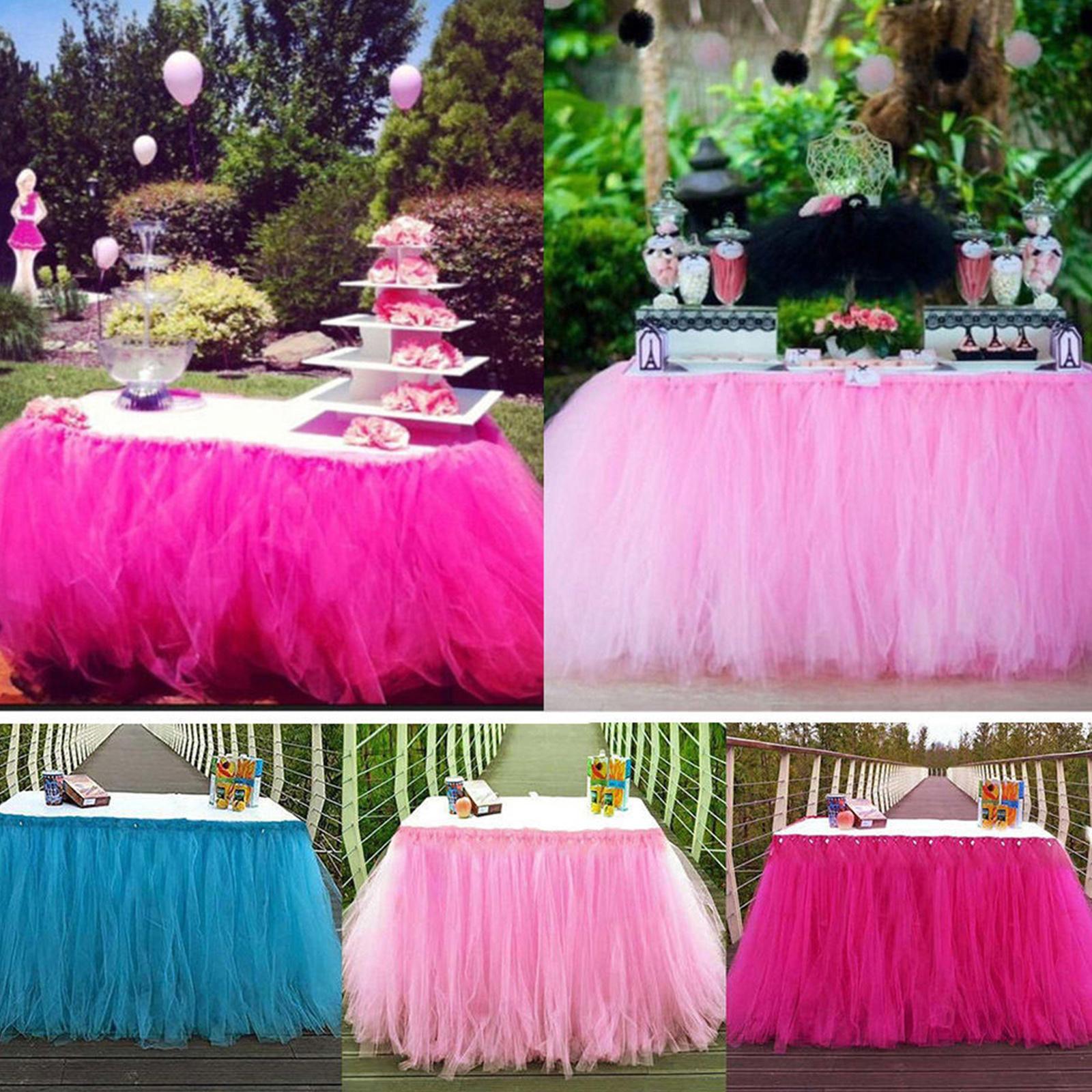 Wedding Party Tulle Tutu Table Skirt Tableware Birthday Baby Shower