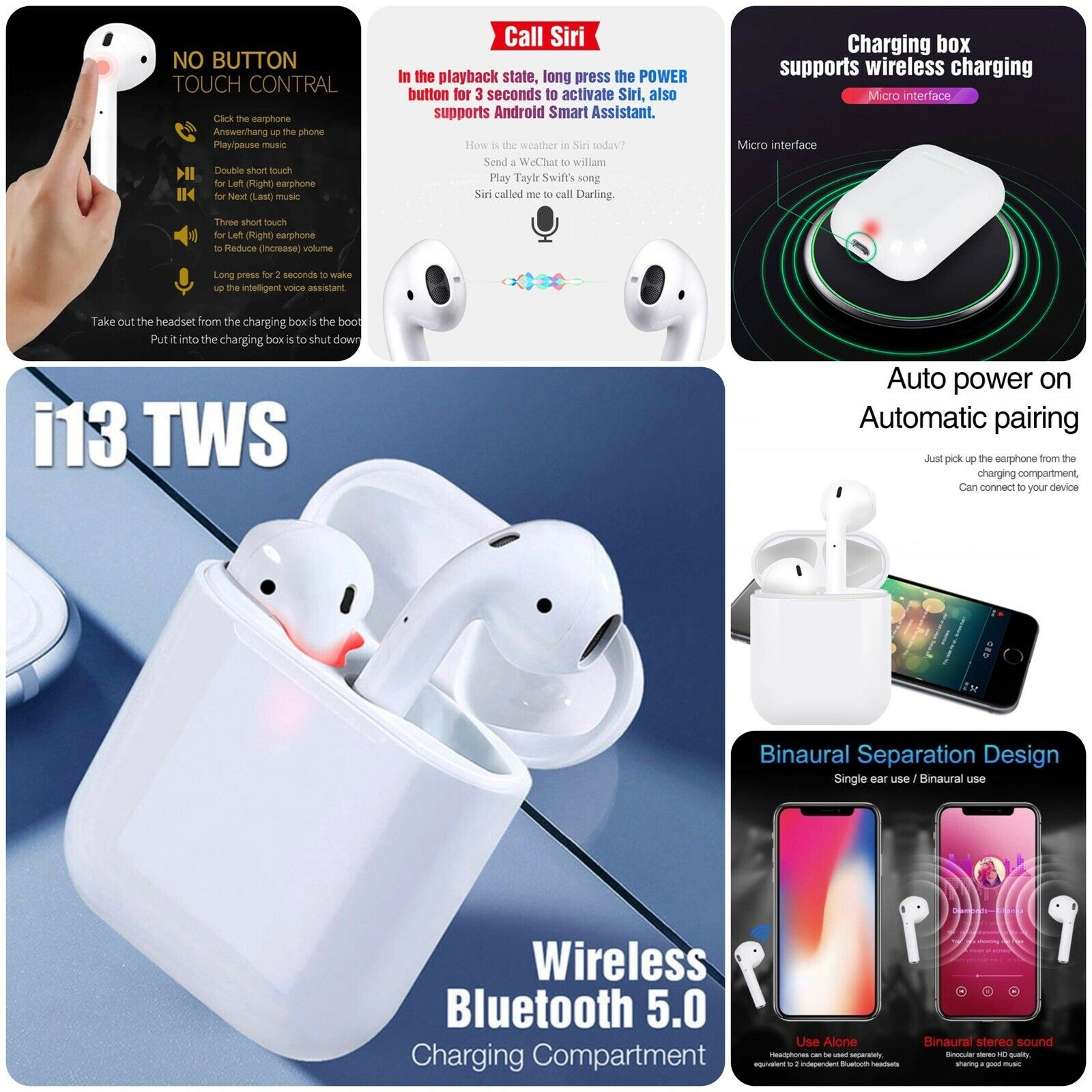 680fa9a0e29 Details about i13 TWS Wireless Bluetooth 5.0 Earbud Mini Earphone Headphone  Touch Control New