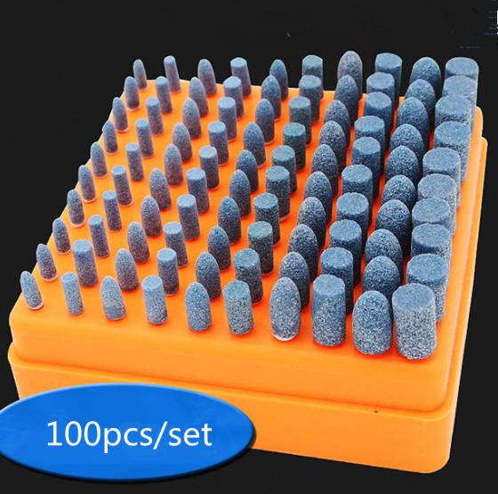 100pc Abrasive Stone Point Grinding Head Wheel Polishing Burr Bit Kit For Dremel