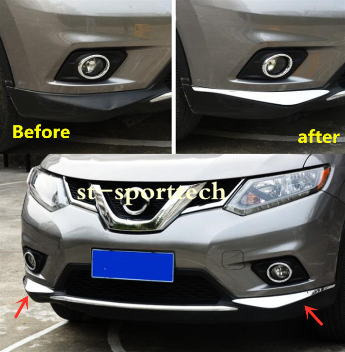 ABS Chrome Front Bumper Trim Protector For Nissan Rogue X-trail 2014 2015 2016
