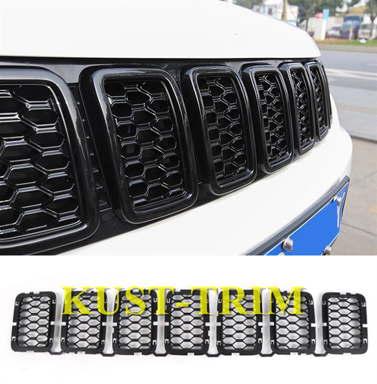 Carbon fiber Grille Grill Insert Ring Cover Trim Fit for Jeep Grand Cherokee 17+