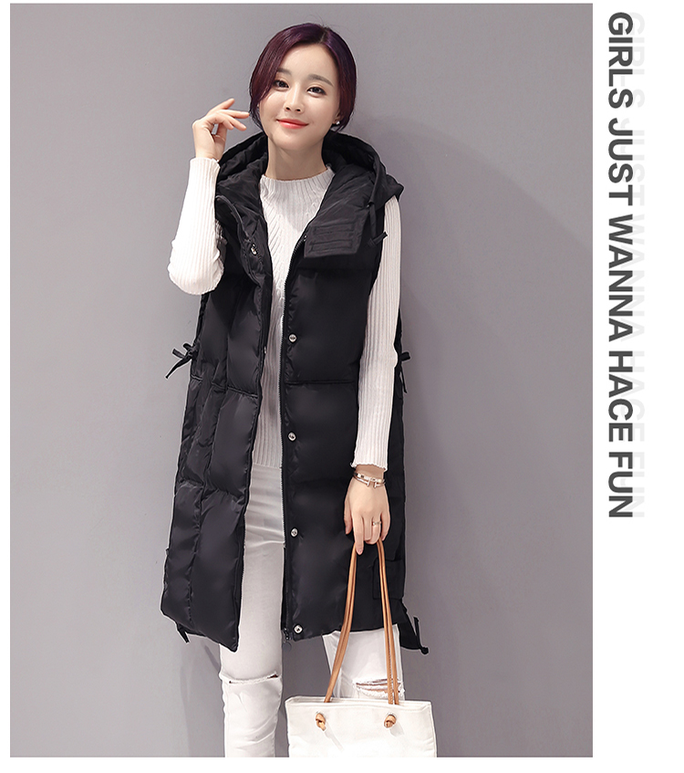 Women Down Cotton Padded Long Hooded Vest Coat Parka Winter ...