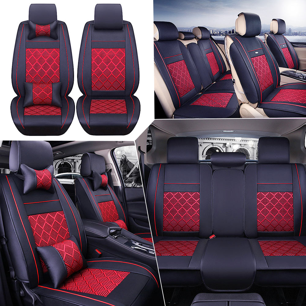 AU PU Leather Seat Covers Car 5-Seats Front+Rear+Neck