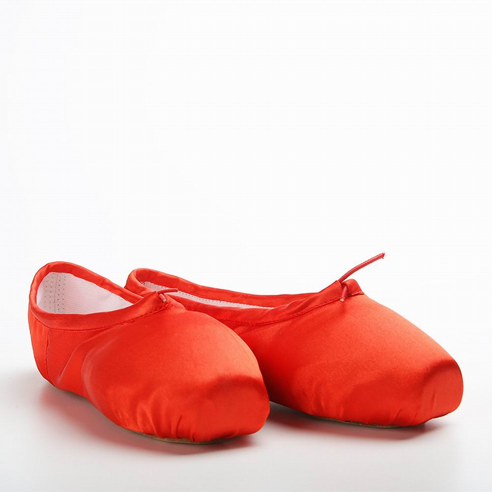 Children Adult Satin Ballet Dance Shoes Slippers Flat Pointed Toe Gymnastic Soft