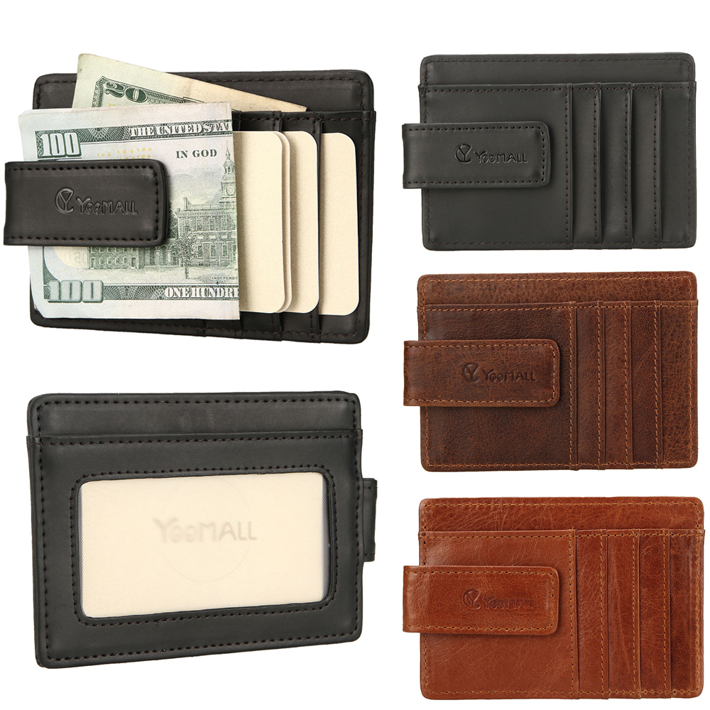 Men/'s PU Leather Slim Money Clip Front Pocket Wallet Thin Credit Card/& ID Holder