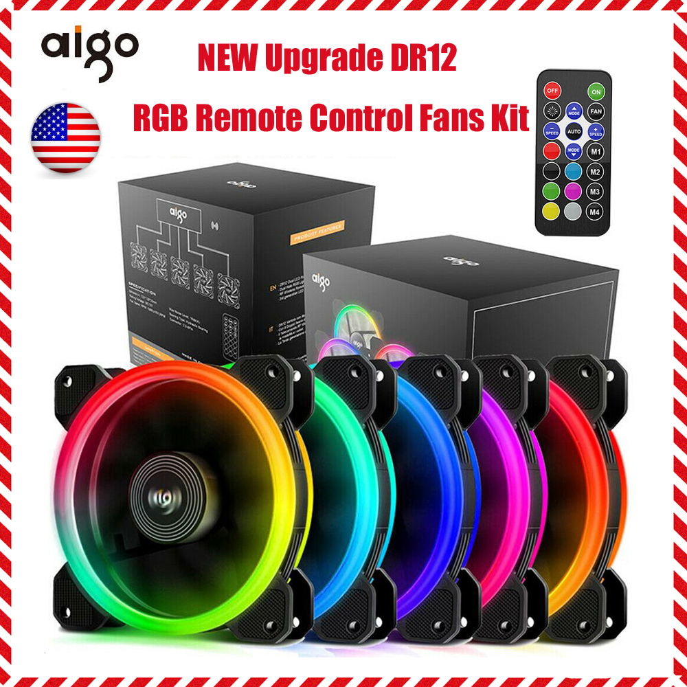 Aigo Aurora RGB Case Fan RGB LED 120mm Adjustable Color High Performance High Airflow Adjustable Colorful PC CPU Computer Case Cooling Cooler with Controller C5 Kit