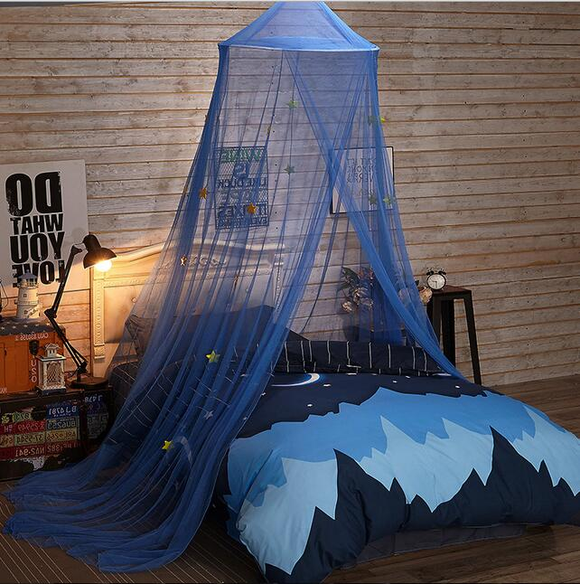 Boy Child Blue Star Lace Mosquito Net Canopy Twin Full Queen King Bed Size